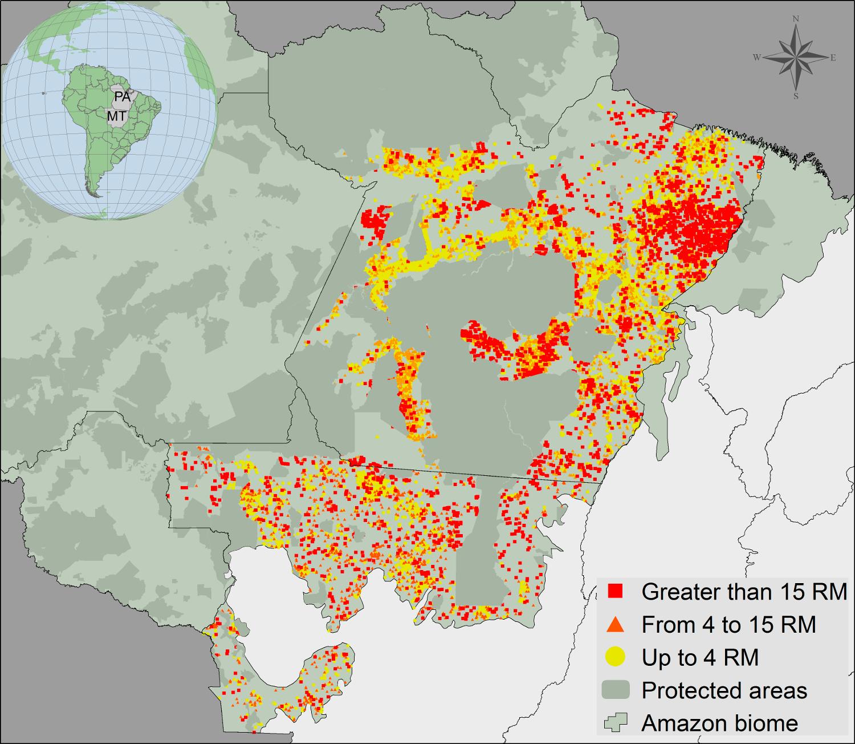 Cadastro Ambiental Rural em MT e PA em 2013.
