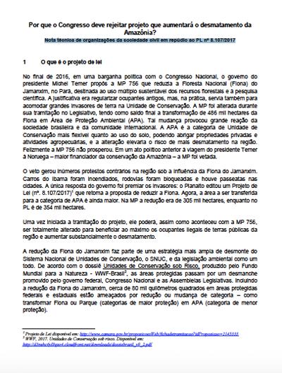 Nota conjunta das ONG contra projeto de lei que reduz a Flona do Jamanxim