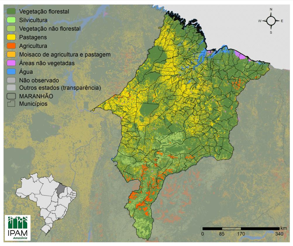 Mapa de vegetação nativa de Maranhão em 2018. Fonte: IPAM, com dados do MapBiomas