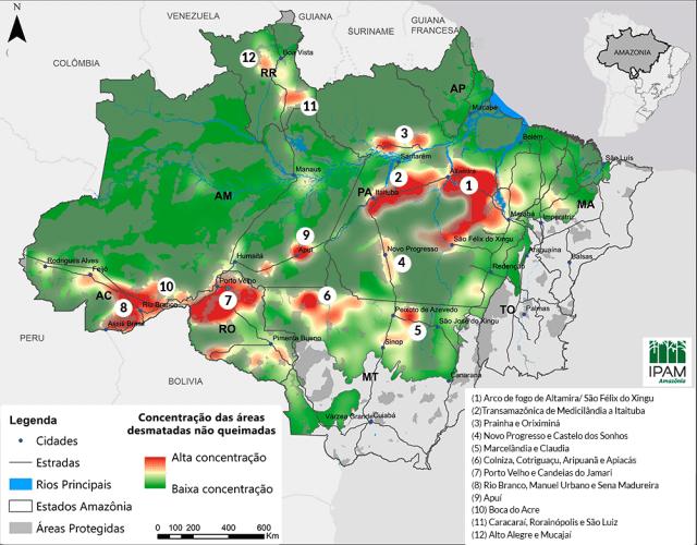 Mapa com 11 locais com concentração de área desmatar pronta para queimar na Amazônia